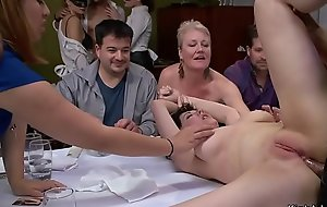 Busty slave anal toyed in public party