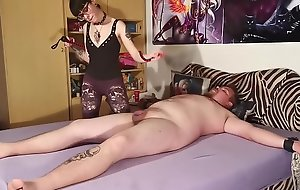 Goth domina biting her tied out slave body and cock pt2 HD