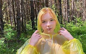 Baby in pvc raincoat sucks an swallow dick