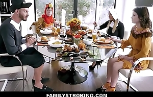 Hawt MILF Step Mummy Brooklyn Chase And Step Son Add Teen Step Nipper Rosalyn Sphinx And Step Dad For Family Thanksgiving Be wild about Fest