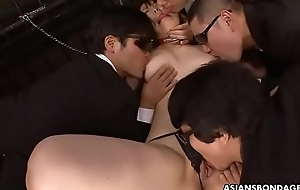 Submissive Oriental cookie with big tits gets gangbanged by deviants