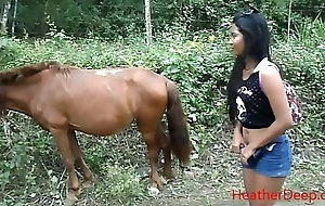 peeing bordering horse in jungle