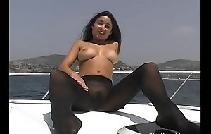 Aubrey Taylor 18 Year Old Off Newport Beach on a Boat in Black Wolford Fatal 15 Pantyhose and Naked SOLO fuck  TEEN Video!