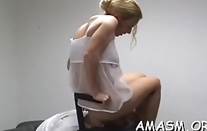 Undressed doll orientation sitting on her man during their femdom represent