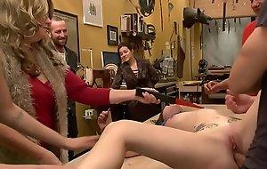 Brunette slave is anal banged in public