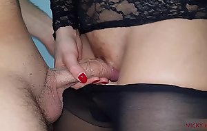 Sexy stepsister black pantyhose cum in and wear that
