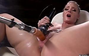 Hot nuisance blonde squirter fucks machine
