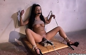 Quivering submissive orgasms while toyed