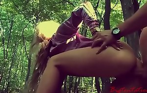 Blonde got fuck in the ass by a babbling brook in the forest