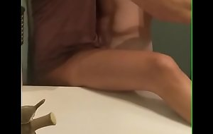 Asian girl fucks bodybuilding bull in bathroom