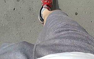 Freeballing in loose shorts as I walk down the sidewalk, my big dick swinging about 20190627