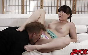 Young temptress Alison Rey facialized at the end of one's tether big stepdaddy dick