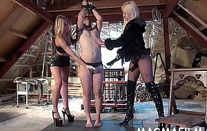 Two mistresses humiliate their slave