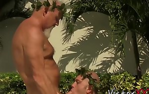 Bearded grandpa bangs his lover raw and cums on him outdoors