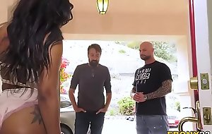 Ebony Cali Caliente Orders Two White Dicks To Destroy Her Pussy