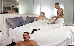 Wife cheats with stepbro when husband is in the shower