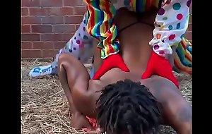 Gibby The Clown fucks ebony in a barn