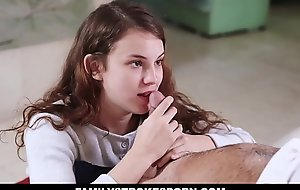 Damn! This scene with the horny stepdaughter teen Ellie Eilish is fucking HOT! Ellie sure knows how to get what she wants by fucking her stepdad!