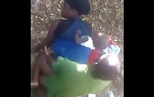 Africans fucking doggystyle outdoor in the bush