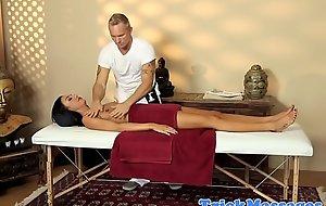 Stunning raven massage babe pussy fingered