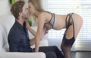 Wild chick Anya Olsen uses her super skinny bod and sheer lingerie to get her pussy eaten and fucked to orgasmic bliss