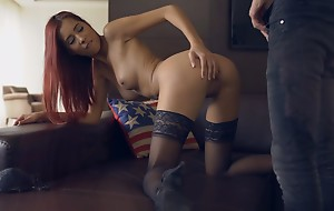 Busty nubile babe Paula peels off her bra and thong and rides her boyfriends stiffie for a hardcore creampie