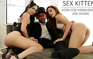 Aidra Fox and Vanna Bardot put on Halloween lingerie and give their blindfolded partner a hot hardcore threesome