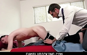 Twink Schoolboy Stepson Fucked Wide of Stepdad Up ahead Meeting With Omnibus