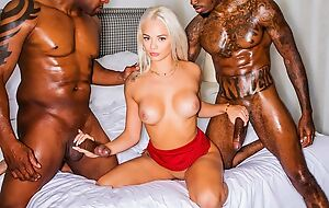 Glamorous blonde girl sucks one BBC while getting fucked by another