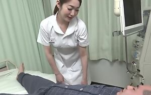 Beautiful Asian nurse gives her patient a hot blowjob