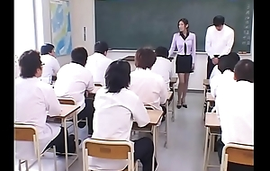 Japanese Tutor degraded and Cum covered wits their way Students in every direction round Class