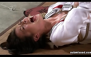 Oriental concomitant is hogtied, electro tortured and dildo punished