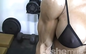 Sexy Blonde Unmasculine Bodybuilder In See Through Top Works Out