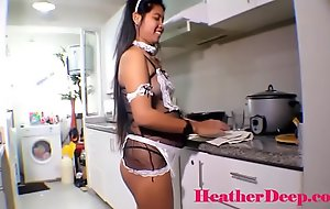 19 week pregnant thai teen heather deep in maid outfits gives deepthroat and creamthroat in rub-down the kitchen