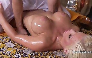 Heavy boobs tow-headed bangs her masseur