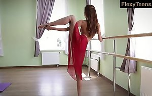 Horny gymnast Inessa forth a red dress