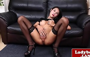 Ritzy ladyboy jerks off with the addition of shows her botheration