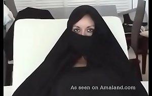 Sexy Arab MILF sucking obese dick