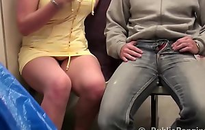 A girl nearly big tits is screwed overwrought 2 guys in a public subway acquaint
