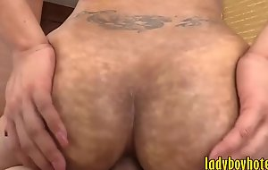 Pretty ladyboy with glasses receives assfuck